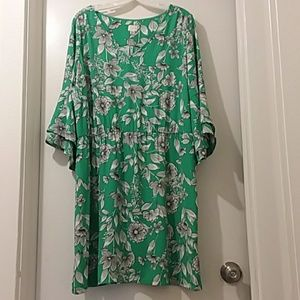A New Day dress green white floral XXL